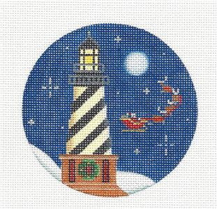 Round ~ B&W Lighthouse with Santa Ornament HP Needlepoint Canvas by Rebecca Wood