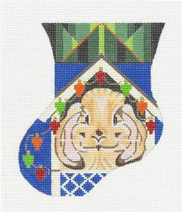 Christmas Mini Stocking ~ Christmas Bunny & Lights Mini Stocking handpainted Needlepoint Canvas by Kamala from Juliemar