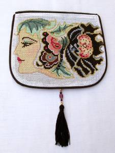 "Bag Flap ~ *FLAP ONLY* Silk Deco Lady Evening Purse ""Style B"" handpaint Needlepoint Canvas"