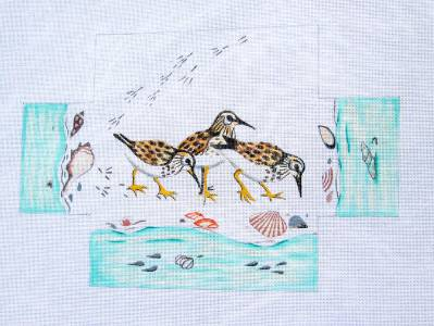 Brick Cover~Shore Birds Brick Cover Door Stop HP Needlepoint Canvas S. Roberts ***SP.ORDER***