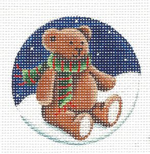 Round ~Teddy Bear Wearing a Scarf Ornament handpainted Needlepoint Canvas Rebecca Wood~MAY NEED TO BE SPECIAL ORDERED