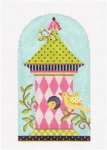 Kelly Clark - Birdhouse Pink Harlequin handpainted Needlepoint Canvas by Kelly Clark