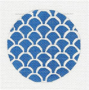 Round~Dark Blue Scales Design Rd. handpainted Needlepoint Canvas by SOS from LEE