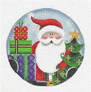 Round ~ Merry Christmas Santa handpainted Needlepoint Canvas by Rebecca Wood *** MAY NEED TO BE SPECIAL ORDERED***