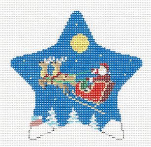 Christmas~Star Moonlight Ride Santa Star handpainted Needlepoint Canvas by Susan Roberts