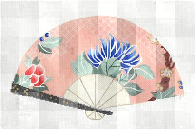 Fan~Oriental Blue Mum on Peach FAN handpainted Needlepoint Canvas by Sophia
