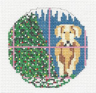 "Round~3""  Yellow Lab Dog in Window handpainted 18 mesh Needlepoint Canvas Needle Crossings"