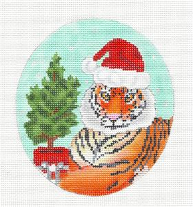 Oval- Tiger in Santa Hat Christmas handpainted Oval Needlepoint Canvas  by Scott Church ***SPECIAL ORDER***