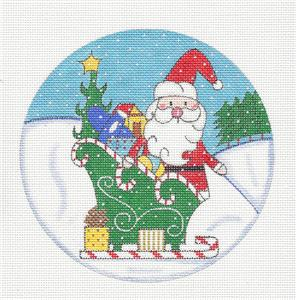 Round~Christmas Santa & Sleigh handpainted Needlepoint Canvas Ornament Alice Peterson