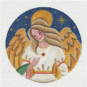 Round ~ Golden Jeweled Angel Ornament handpainted Needlepoint Canvas by Rebecca Wood *** MAY NEED TO BE SPECIAL ORDERED***