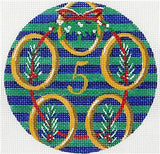 12 Days of Christmas 5 Gold Rings with STITCH GUIDE & HP Needlepoint canvas Juliemar