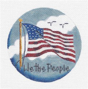 "Round ~ Patriotic FLAG ""WE THE PEOPLE"" handpainted Needlepoint Canvas Rebecca Wood"
