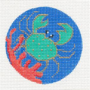"Round~Summer Blue Crab in Coral 3"" Rd. handpainted Needlepoint Ornament Amanda Lawford"