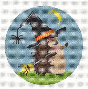 Round- Halloween Witches Hat Hedgehog handpainted Needlepoint Canvas by ZIA from Danji