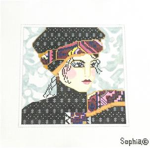 "Canvas~Sophia Designs ""Sophisticated Lady in a Hat"" handpainted Needlepoint Canvas"
