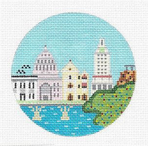 "Round~4"" Austin~Texas City Scape Destination handpainted round Needlepoint Canvas~by Painted Pony"