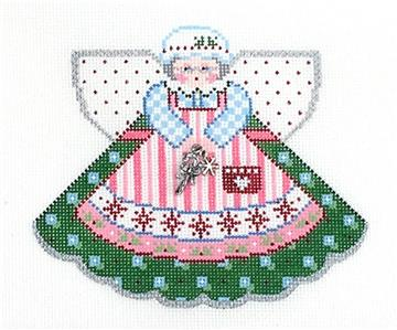 Angel-Mrs. Claus Angel & Charms handpainted Christmas Ornament Canvas by Painted Pony **MAY NEED TO BE SPECIAL ORDERED**