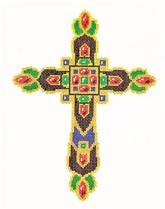 "Cross ~ Elegant 7"" tall Multi-Color CROSS handpainted Needlepoint Canvas by LEE"