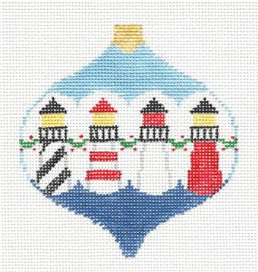 Bauble~ 4 Lighthouses Bauble handpainted Needlepoint Ornament Canvas by Kathy Schenkel
