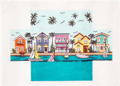 Brick Cover~Living On The Water Brick Cover HP Needlepoint Canvas by Needle Crossings