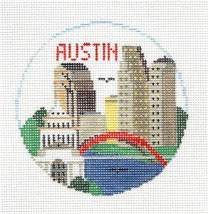 Travel Round~Austin Texas handpainted Needlepoint Canvas~by Kathy Schenkel**MAY NEED TO BE SPECIAL ORDERED**