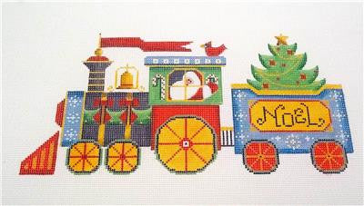 Christmas ~ Santa Express Christmas Train handpainted Needlepoint Canvas by Rebecca Wood~ MAY NEED TO BE SPECIAL ORDERED