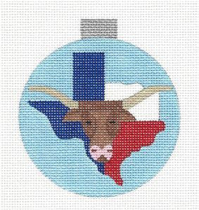 Round~TEXAS LONGHORN State handpainted Needlepoint Ornament by Ray.Crawford