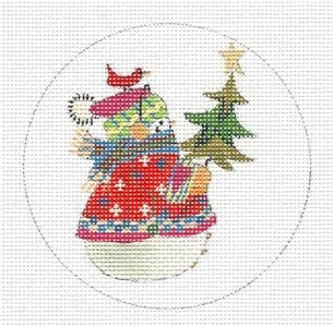 Christmas~ Snowman in Plaids handpainted Needlepoint Ornament by J. Stever ~ Juliemar***SPECIAL ORDER***