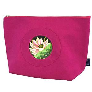 "Accessory~ Silk Zip Clutch Purse Bag in Fuschia Pink for 2.75"" Rd. Needlepoint Canvas by LEE"