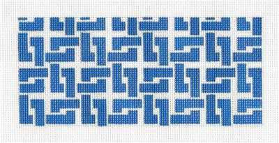 "Canvas Insert~Blue Sq. Chain Design handpainted ""BB"" Needlepoint Canvas by SOS from LEE"