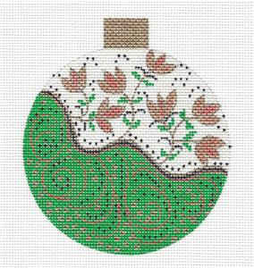 Green & Gold Tendrils & Florals handpainted Needlepoint Canva ~ Sharon G
