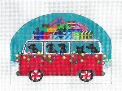 "Canvas ~ Christmas Dogs in VW Bus ""HAPPY HOWLIDAYS"" HP Needlepoint Canvas from CBK"