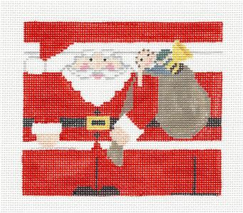 Canvas~ Christmas Santa Roll-Up handpainted Needlepoint Canvas by Kathy Schenkel