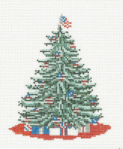 Canvas~ Patriotic Christmas Tree handpainted Needlepoint Canvas by Needle Crossings