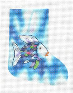 Stocking~The RAINBOW FISH Mini Stocking Ornament handpainted Child's Needlepoint by LEE