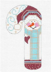 Medium Candy Cane Snowman in Blue Scarf HP Needlepoint Canvas CH Designs - Danji