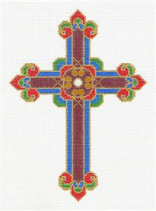 "Cross~ Elegant 7"" tall Regal Colors CROSS handpainted Needlepoint Canvas by LEE"