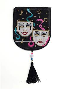 "Bag Flap ~*FLAP ONLY* ""Laugh and Cry"" Masks Purse handpainted Needlepoint Canvas #A"
