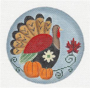 Round ~ November Turkey handpainted Needlepoint Canvas by Rebecca Wood *** MAY NEED TO BE SPECIAL ORDERED***