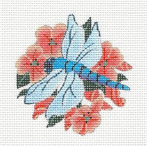 Dragonfly in Flowers Handpainted Needlepoint Canvas by Melissa Shirley