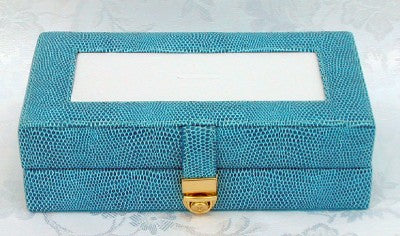 Accessory~ LEE Blue Leather Jewelry Box with Interior Compartments for Needlepoint Canvas