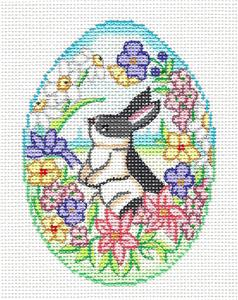 "Egg ~ Bunny in Spring on a Floral Egg 4.25"" Ornament handpainted Needlepoint Canvas by Alexa"