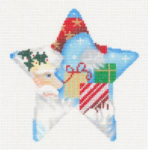 Christmas-Elegant Santa with Gifts Christmas Star HP Needlepoint Canvas Associated Talents