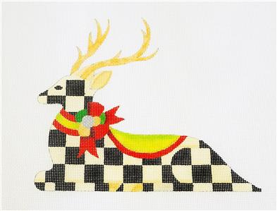 Canvas~Reclining B&W Check Reindeer handpaint Needlepoint Canvas Raymond Crawford