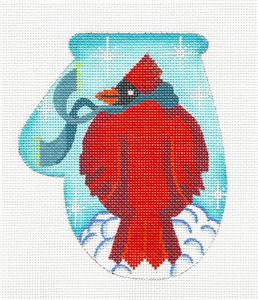 Mitten~Cool Cardinal Mitten handpaintd Needlepoint Canvas by KAMALA from JulieMar