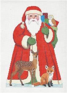 Christmas~Tree Topper Santa & Forest Friends handpainted Needlepoint Canvas Susan Roberts