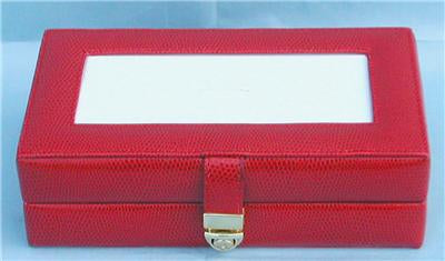 Accessory~LEE Red Leather Jewelry Box with Interior Compartments for Needlepoint Canvas