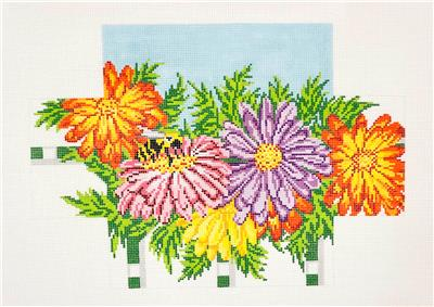 Brick Cover~Zinnia Flowers Brick Cover handpainted Needlepoint Canvas Needle Crossings