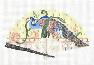 Fan~Elegant Oriental Peacock handpainted Needlepoint Canvas by Sophia Design
