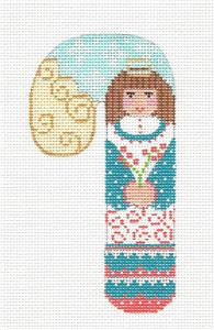 Medium Candy Cane Angel ~ Holding a Flower HP Needlepoint Canvas CH Designs- Danji